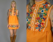 60s Embroidered Mini Dolly Dress Harvest Cotton Mini Babydoll Dress