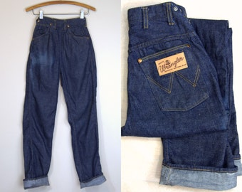 1950s Wrangler High Waisted Sanforized Womens Western Dark Denim Blue Jeans Deadstock