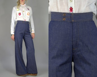 70s Bell Bottoms LEVIS Orange Tag Bohemian Blue Denim High Waisted Flared Bell Bottom Jeans
