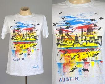 90s Austin Texas Souvenir Hand Painted White Cotton T Shirt