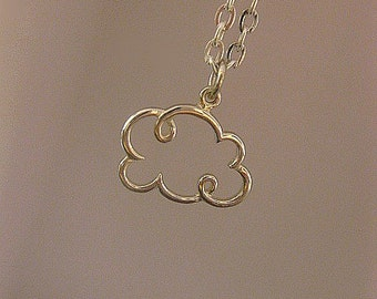 Cloud Necklace - Sterling Silver - Small - Charm Necklace - Gift For Her - Best Friend - Mom - Long Distance - Christmas Gift