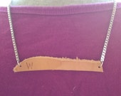 OOAK Leather Initial Bar Customizable Short Necklace