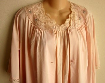 Vintage robe nightgown set pale pink girlie nylon Shadowline   S M