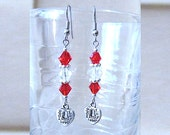 Mother to Daughter Red & White w/Silver Made with Love Heart Charm Dangle Earrings, Handmade Original Fashion Jewelry, Teen Valentine Gift