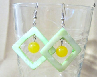 Soft Green Mother of Pearl Diamond Hoops w/Yellow Candy Jade, Handmade Original Fashion Jewelry,Summer Beach Vacation, Bold Custom Wedding