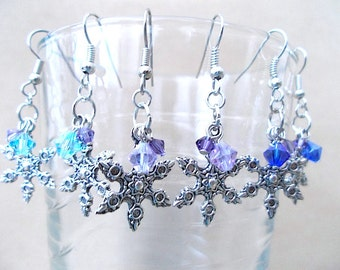 Winter Earrings, Silver Snowflake & Two-tone Crystals Dangle Earrings, Handmade Beaded Jewelry, Festive Holiday Jewelry, Crystal Earrings
