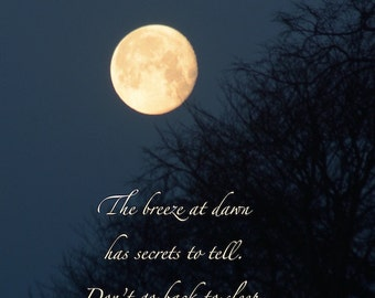 Breeze at dawn Rumi quote, Golden Moon photograph with quotation, word art, secrets, lunar love, inspiring words