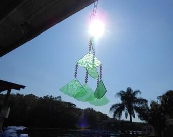 Glass Suncatcher Wind Chime with Stained Glass Chimes, Glass Windchime, Glass Yard Art, Garden Decor, Original Home Decor, Window Treatment