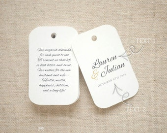 Sugared Almonds Personalized Gift Tags - Jordan Almond Favor Tags - Wedding Favor Tag - Wedding Bomboniere - Set of 24 (Item code: J558)