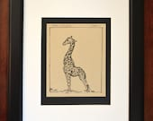 Giraffe Ink Drawing on Brown Recycled Paper, African Animal Art by Casey Perez, Original Artwork with Frame and Matte