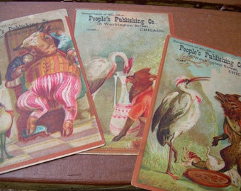 Victorian Trade Card Lot - People's Publishing Co. Chicago - Animals