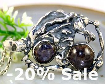 Corundum Pendant Sapphire Statement Necklace Sterling Silver Jewelry