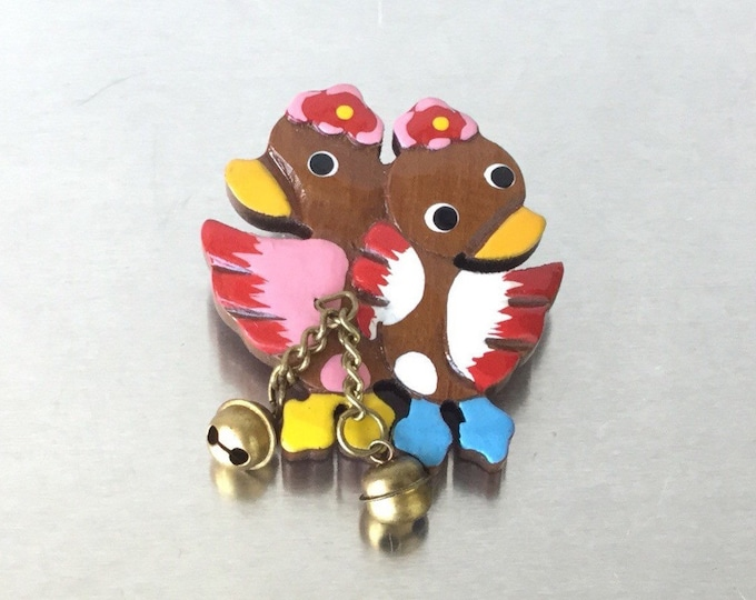 Lovely Vintage Handpainted Character Brooch, Vintage Duck Brooch. Cartoon Brooch. Colorful Brooch. Brooch with bells.