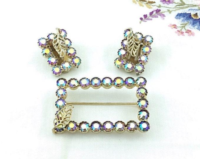 Vintage Signed Continental Rhinestone Brooch & Earrings with purple aurora borealis Rhinestones. AB Vintage Jewelry Sets.