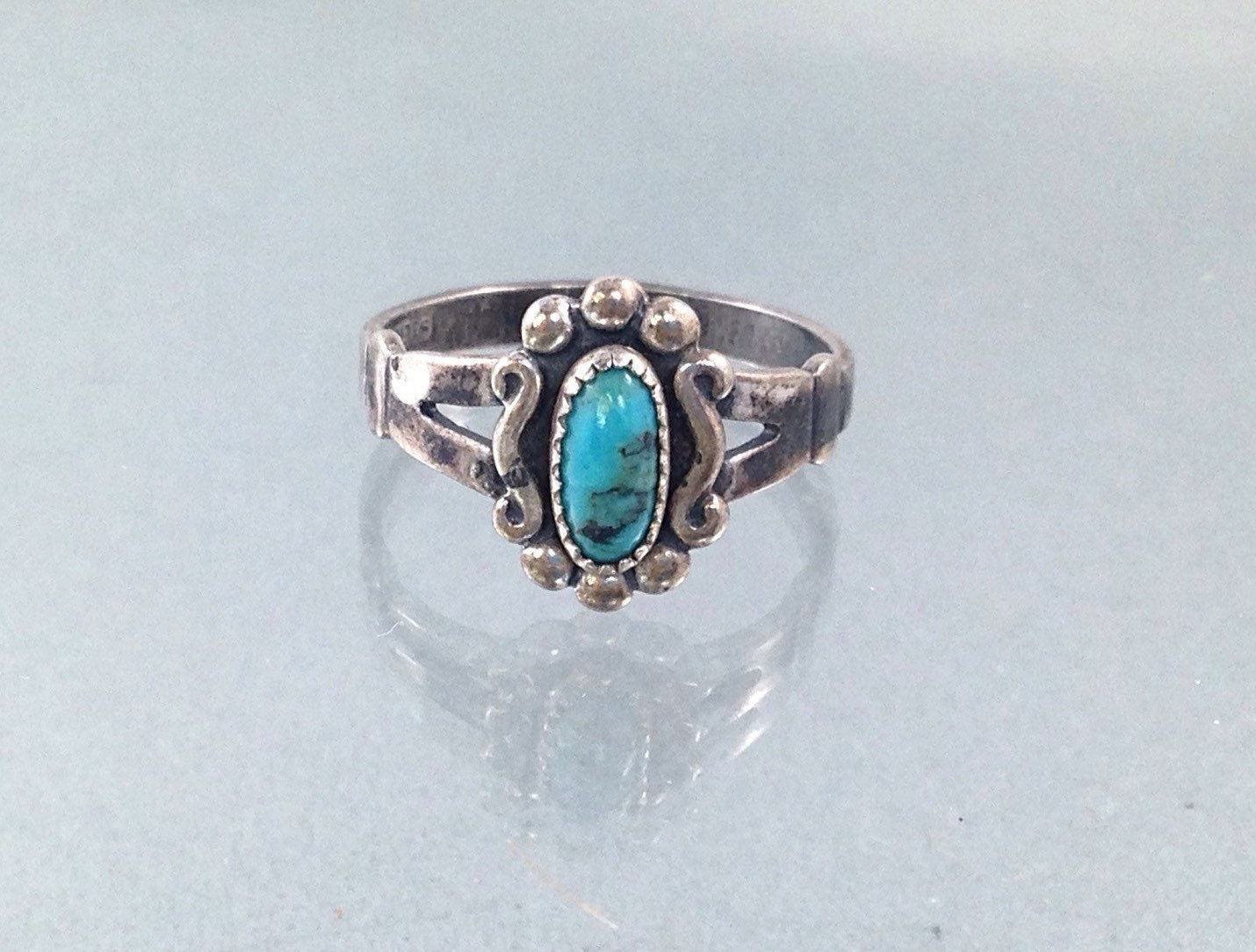 vintage turquoise sterling silver ring green turquoise