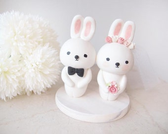 Custom Wedding Cake Toppers - Cute Bunny with base