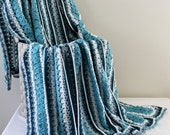 Afghan - Handmade Crochet Queen Size Blanket - Aquas- Christmas in July SALE - 20 % off until July 31st