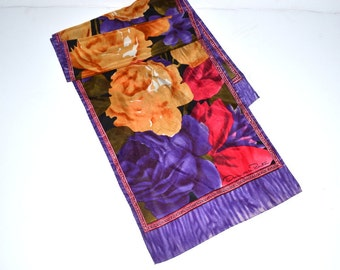 Vintage designer scarf 80s silk scarf shawl head band Oscar de la Renta roses floral colorful designer scarf Spring fashion Mothers day gift