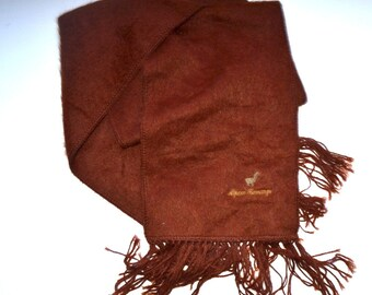 """Vintage 80s Alpaca Camargo   long scarf  made in Peru  11.5"""" x 59"""" chocolate brown scarf  Gift Accessory"""