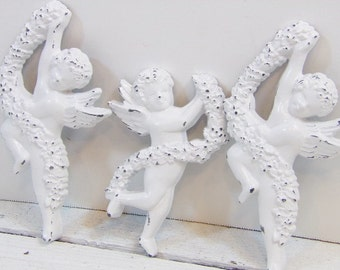 3 Small Victorian Wall Cherub Shabby Victorian Decor Reloved