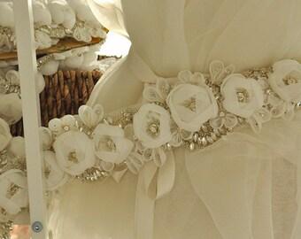 Rhinestone Trim Applique with 3D Chiffon Rosette , Full Waist Bridal Sash Wedding Belt