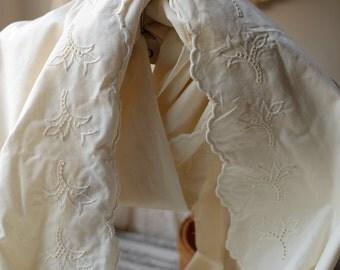 Cotton lace trim in vintage style, cotton floral embroidery lace trim , Eyelet cotton lace trim