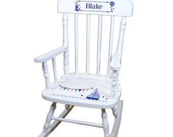 Childs Personalized Sailboat White Rocking Chair Toddler Baby Custom Kids Rocker Nautical Nursery Decor Sailboats Baby Gift Navy SPIN-whi201