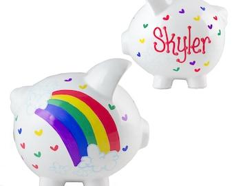Personalized Hand Painted Rainbow Piggy Bank for girls baby girl custom Rainbow Piggy Bank Clouds Rainbows Hearts savings bank PIGG-whi-2