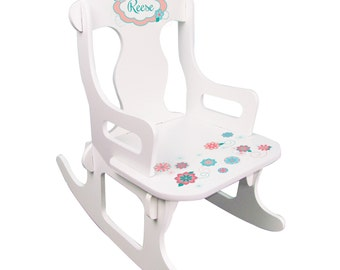 Chair - White Puzzle Rocker with Teal, Aqua, Coral, Mint Floral Design ...
