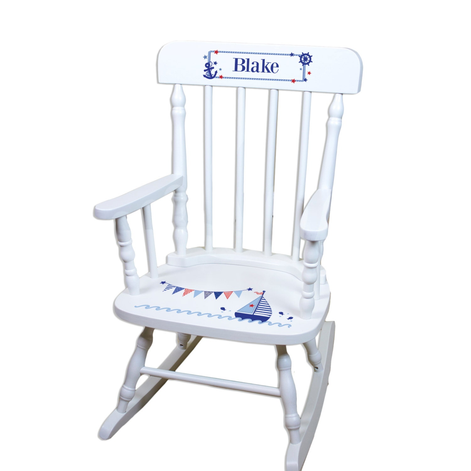Childs Personalized Sailboat White Rocking Chair Toddler Baby
