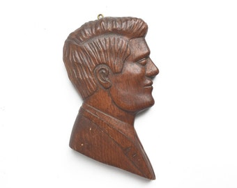 vintage hand carved Kennedy plaque, wood JFK portrait bust, USA collectible, president portrait, kennedy portrait