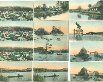 instant collection of 12 SMALL vintage antique hand tinted photographs of Japan, from Elizabeth Rosen