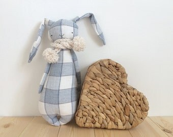 Stuffed Rabbit Toy, Bunny Rabbit Softie, Rag Doll, Rabbit Doll, Stuffed Animal, Nursery Decor, Cuddly Toy, Baby Shower, Soft Doll