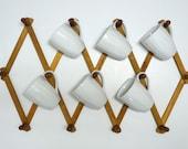 Vintage Large Accordian Wood Peg Rack / Mug Rack /Jewelry Rack/  Herb Drying Rack