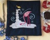 Snow Flamingo made by a Winter Flamingo, Loyalty Card or Cosmetic Storage Pouch, Navy with Cotton Lining, Winter Fun