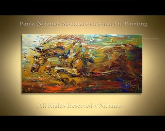 Acrylic and Oil large Stallion Painting on canvas PALETTE KNIFE original extra heavy texture art ready to hang By Paula Nizamas