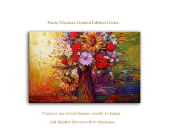 Colors of Summer - Abstract Art Giclee on canvas home interior DecorPaula Nizamas Ready to hang