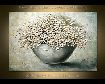 Painting on canvas Daisies in a Bowl heavy texture Palette Knife art by Paula Nizamas ready to hang