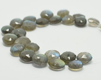 Labradorite Heart Briolettes, Labradorite Briolette Faceted Flat Drops, 8x8 mm, 5 Beads, Destash Gemstones #105