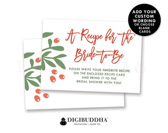 BRIDAL SHOWER INSERT Card Christmas Custom Invitation Enclosure Cards Holiday Insert Cards Printed Info Card Printable Insert Card - Dorothy
