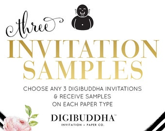 INVITATION SAMPLES Choose Any THREE (3) Digibuddha Wedding Invitations Bridal Shower Invitations Baby Shower Invitations Wedding Samples