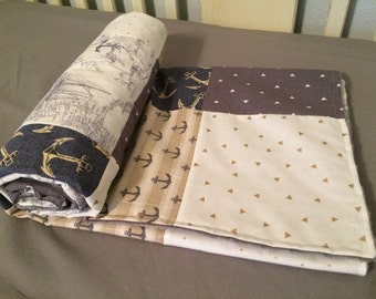 Patchwork Minky Blanket, Nautical, Blue ,Gray, an Cream