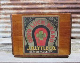 Antique Wood Crate Refinished J.B. LYTLE Good Luck Brand Horse Shoe Label Delivery Crate Beaver Falls PA Wooden Storage Lacquered Wood Box