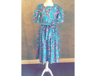 LAURA ASHLEY Cute Vintage Party Dress UK Size 8/10 - Turquoise Leaf Print 100% Cotton