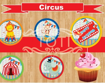 Circus | Cupcake Toppers, Stickers, Labels, and Favor Tags [INSTANT DOWNLOAD)
