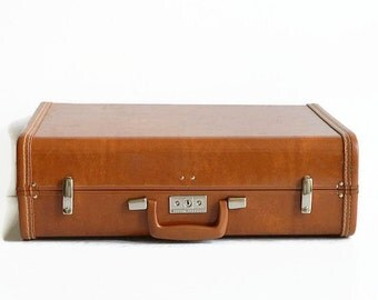 vintage Samsonite suitcase with key caramel brown 1960s travel luggage