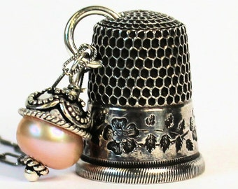 Antique Dogwood Thimble and Acorn Hidden Kisses Necklace Peter Pan and Wendy in Solid Sterling Silver Freshwater Pearl