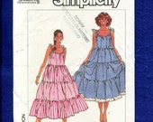 Vintage 1980's Simplicity 8069 Tiered Country Chic Sun Dress Pattern Size Medium 14/16 UNCUT