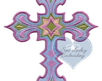 Starburst Cross Embroidered Patch, Sew or Iron on