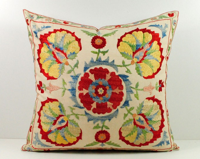 Handmade Suzani Silk Pillow Cover msp11-06, Suzani Pillow, Uzbek Suzani, Suzani Throw, Suzani, Decorative pillows, Accent pillows